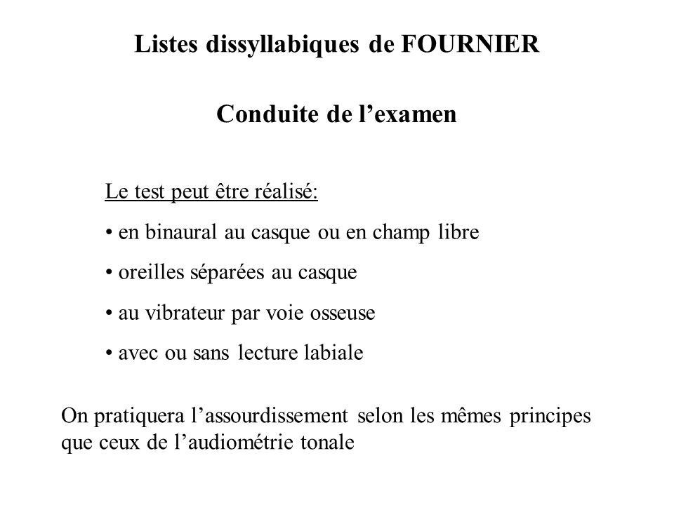 Listes dissyllabiques de FOURNIER