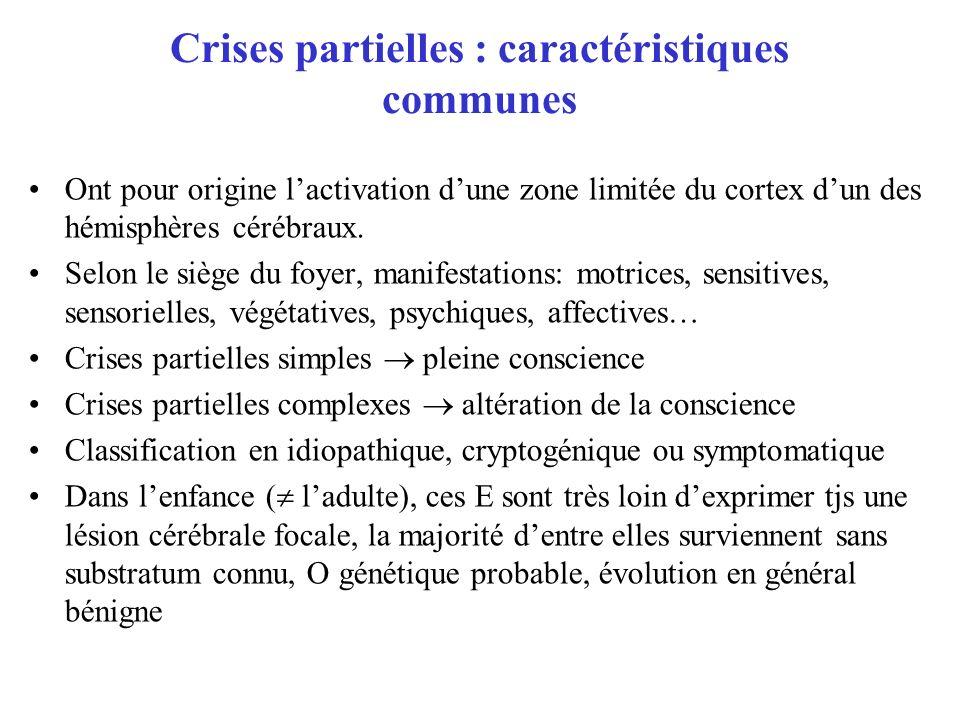 Crises partielles : caractéristiques communes