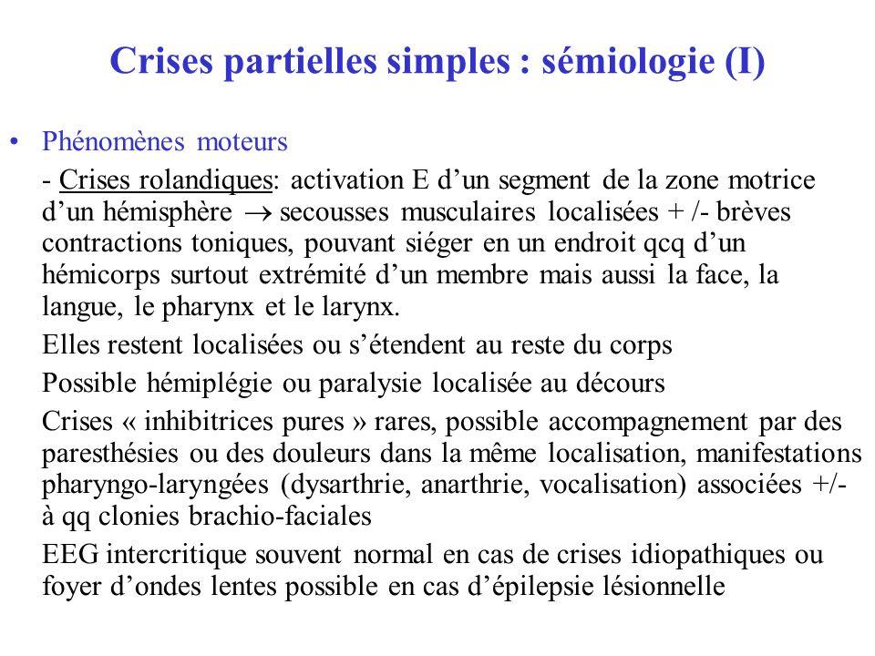 Crises partielles simples : sémiologie (I)