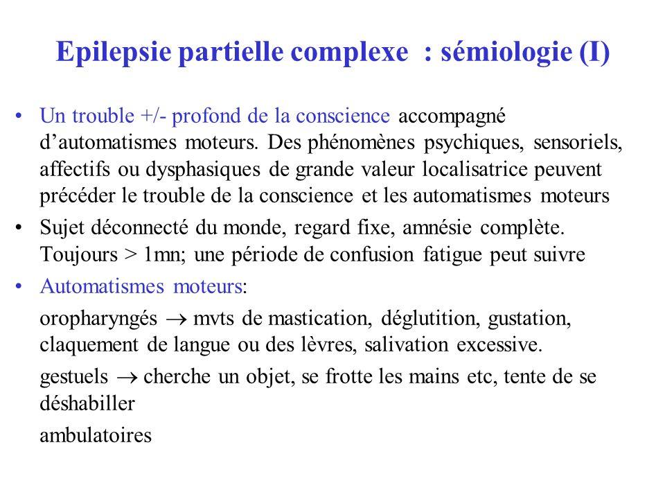 Epilepsie partielle complexe : sémiologie (I)