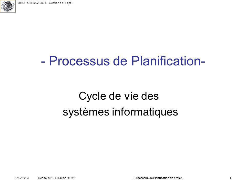- Processus de Planification-