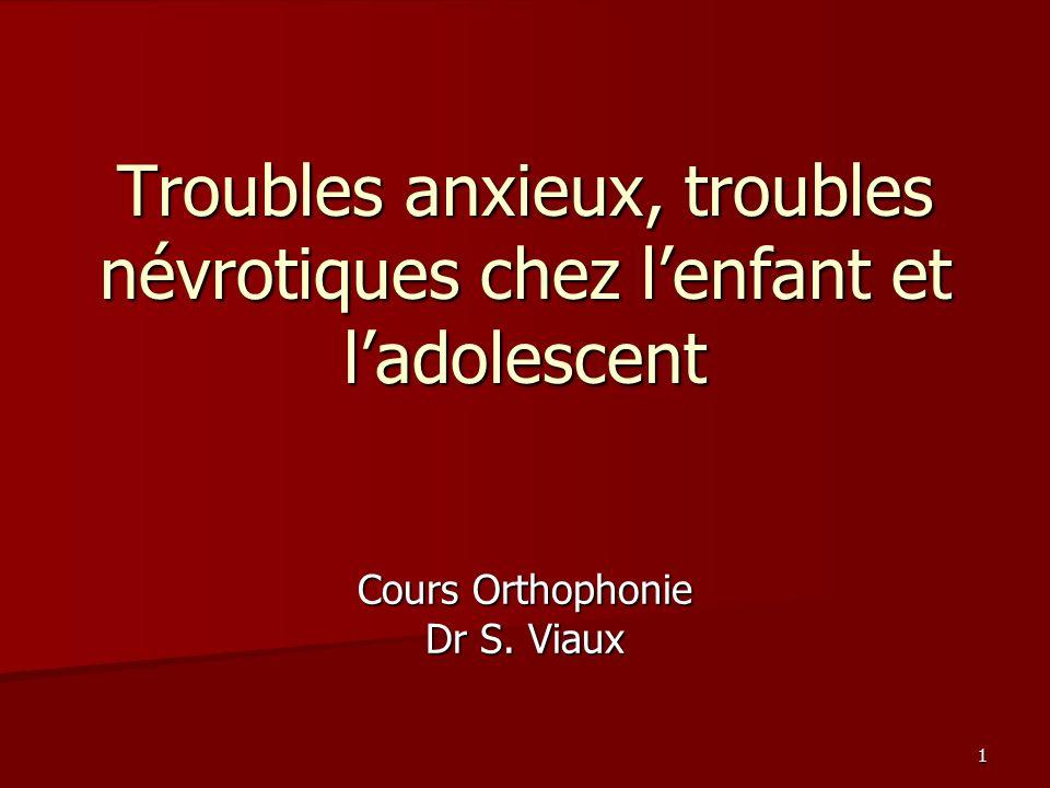 Troubles anxieux, troubles névrotiques chez l'enfant et l'adolescent