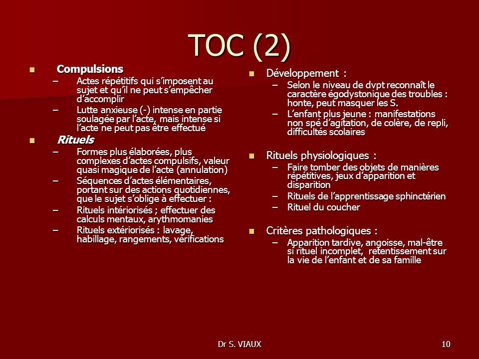 TOC (2) Compulsions Développement : Rituels Rituels physiologiques :