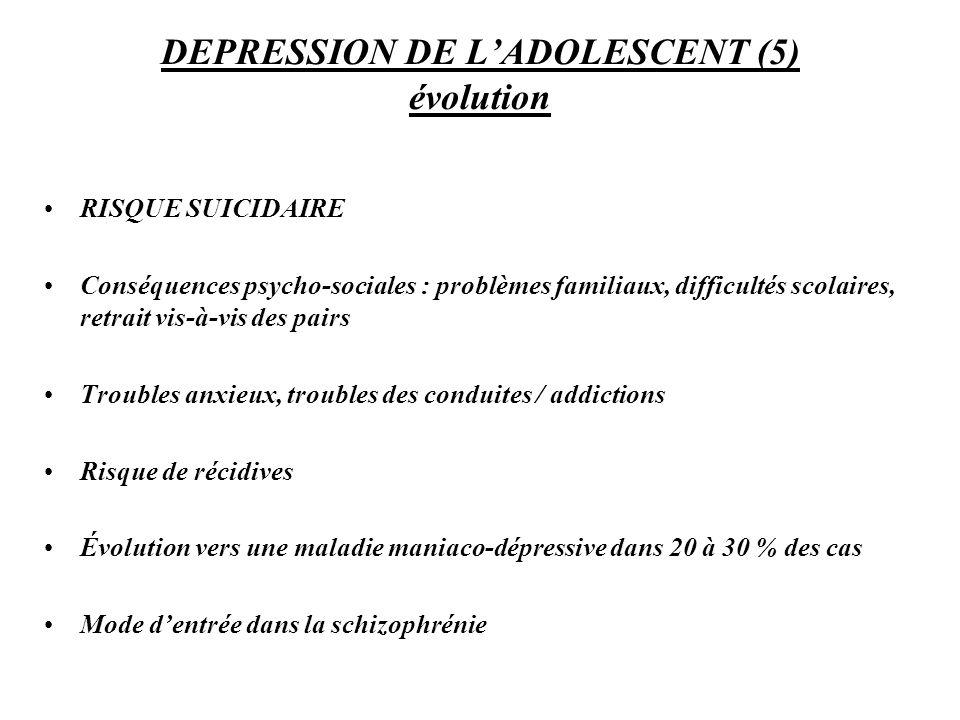 DEPRESSION DE L'ADOLESCENT (5) évolution