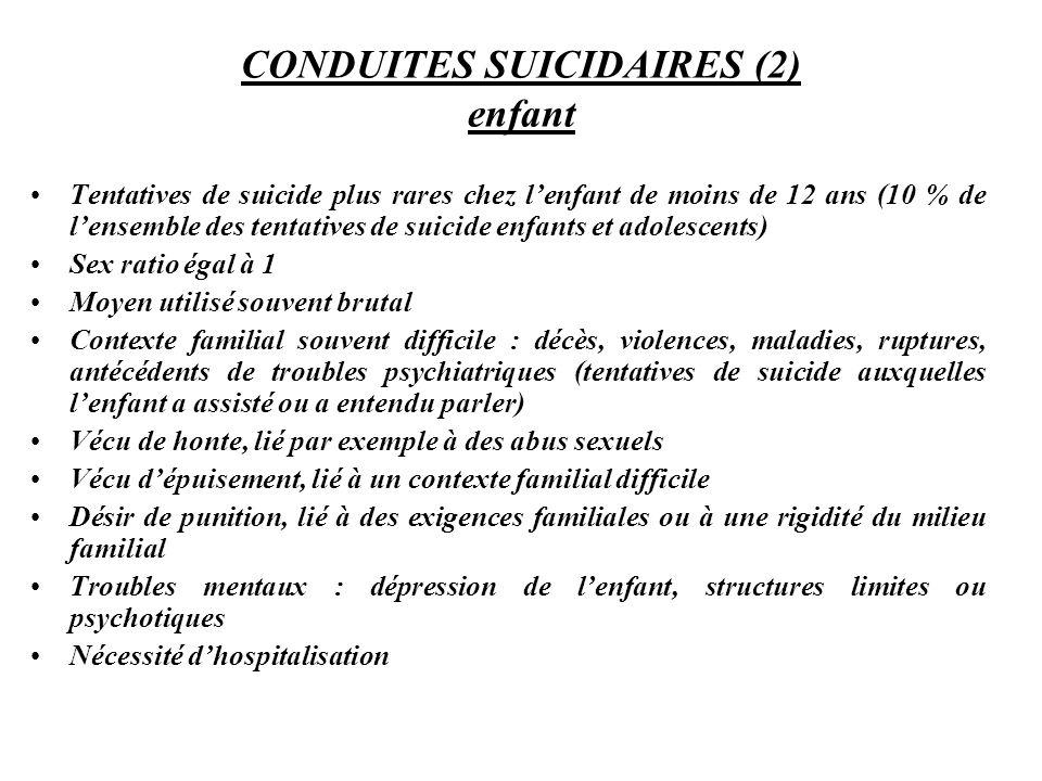 CONDUITES SUICIDAIRES (2) enfant