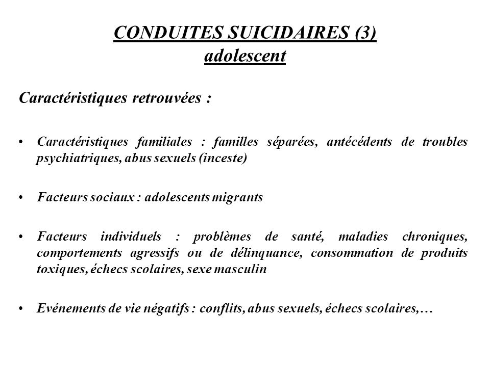 CONDUITES SUICIDAIRES (3) adolescent
