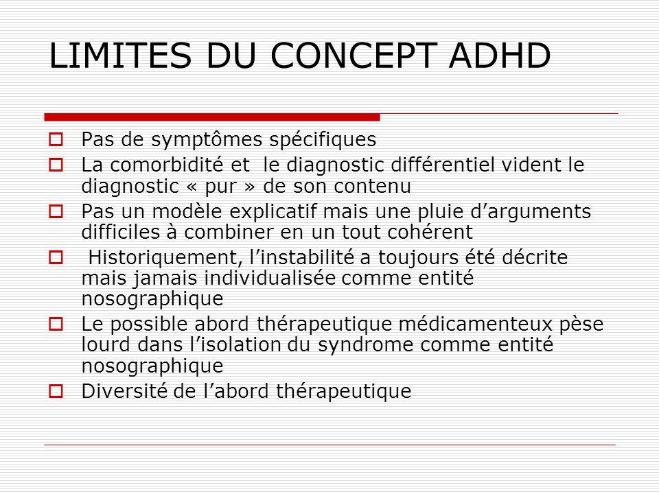 LIMITES DU CONCEPT ADHD