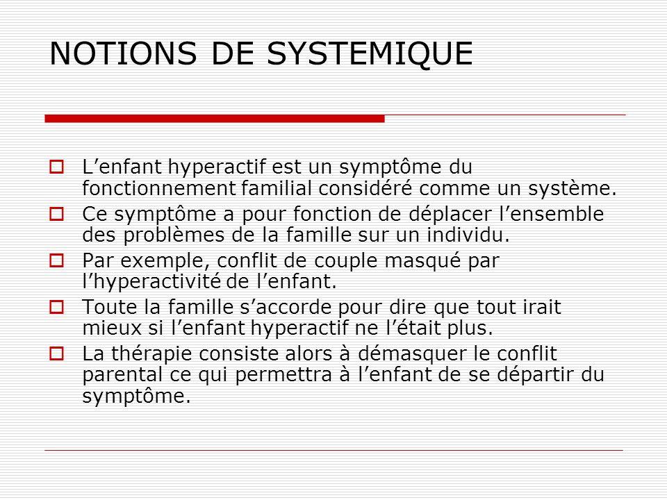 NOTIONS DE SYSTEMIQUE L'enfant hyperactif est un symptôme du fonctionnement familial considéré comme un système.