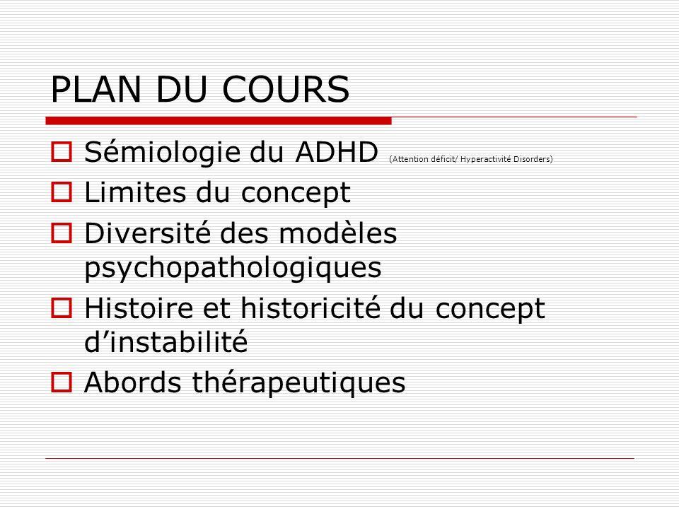PLAN DU COURSSémiologie du ADHD (Attention déficit/ Hyperactivité Disorders) Limites du concept. Diversité des modèles psychopathologiques.