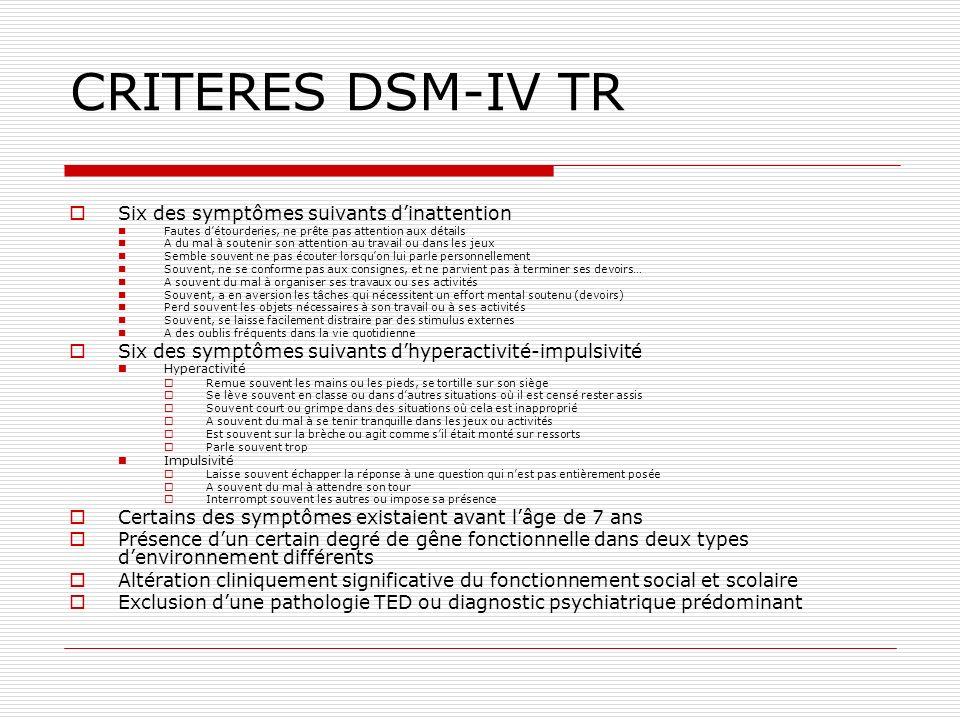 CRITERES DSM-IV TR Six des symptômes suivants d'inattention
