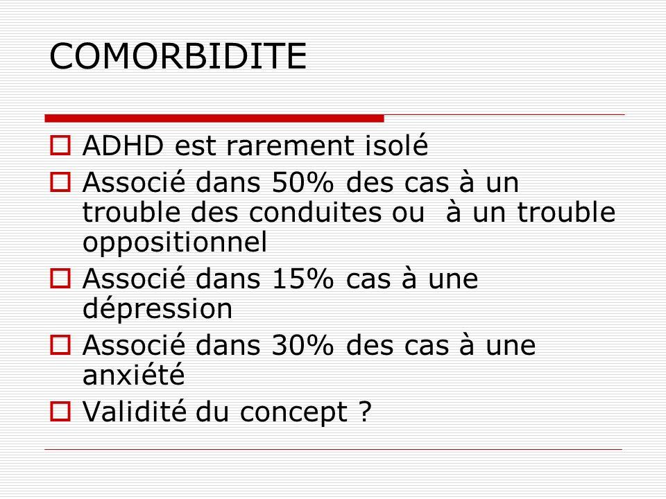 COMORBIDITE ADHD est rarement isolé