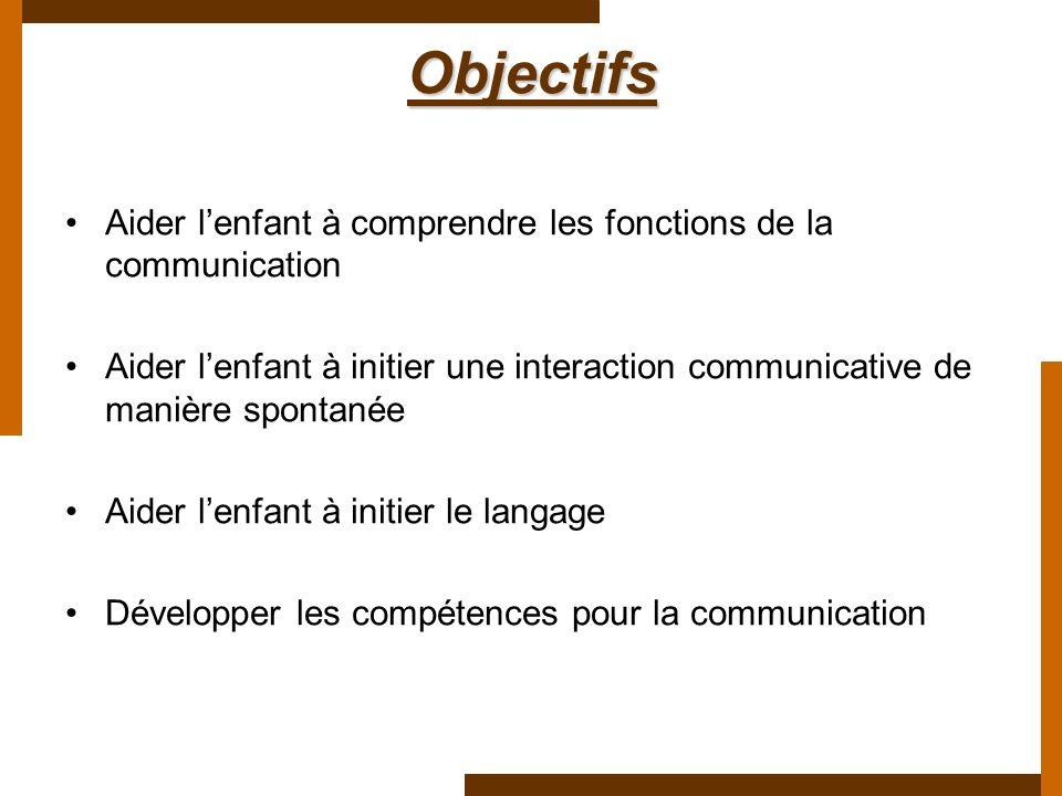 Objectifs Aider l'enfant à comprendre les fonctions de la communication. Aider l'enfant à initier une interaction communicative de manière spontanée.