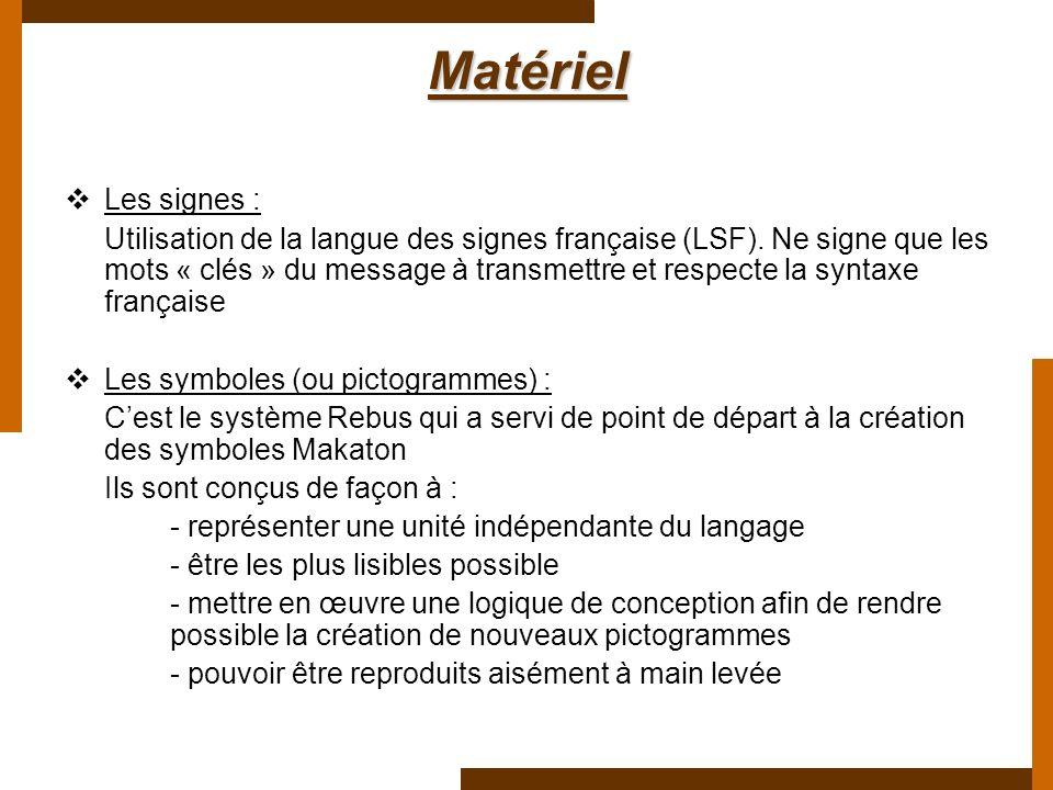 Matériel Les signes :