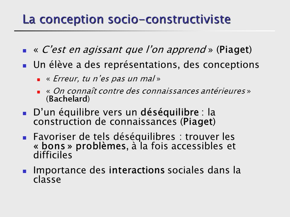 La conception socio-constructiviste