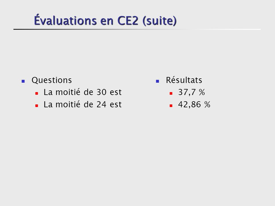 Évaluations en CE2 (suite)