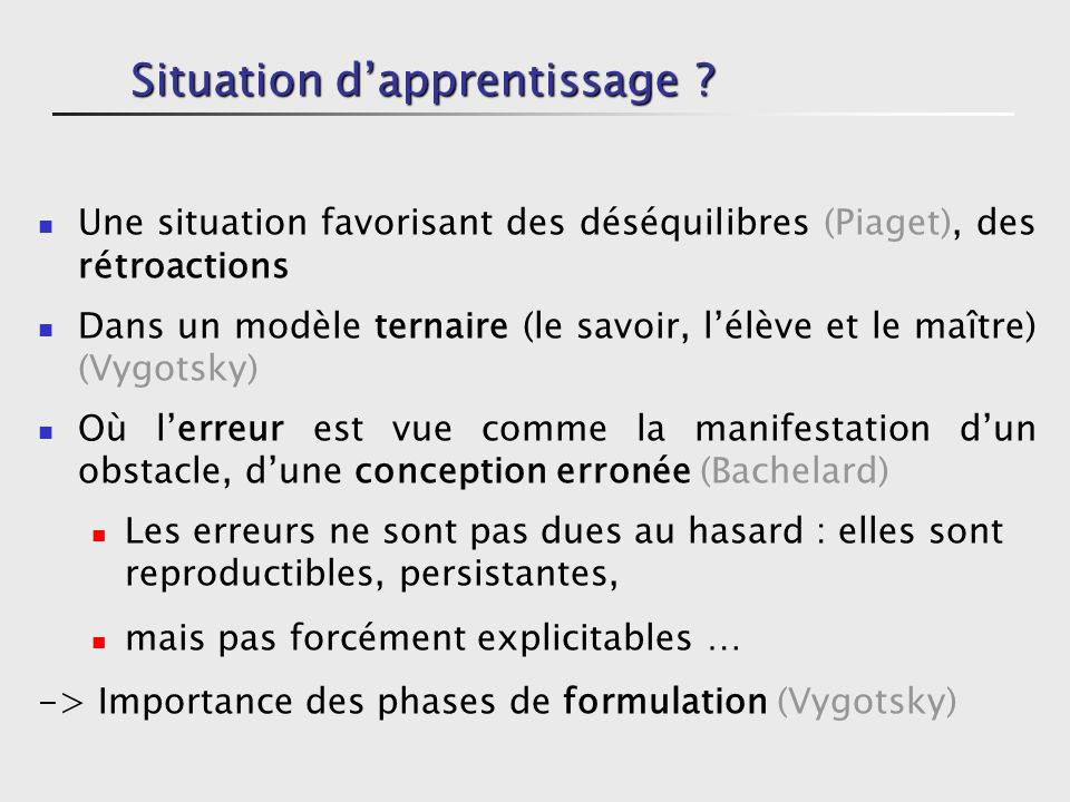 Situation d'apprentissage