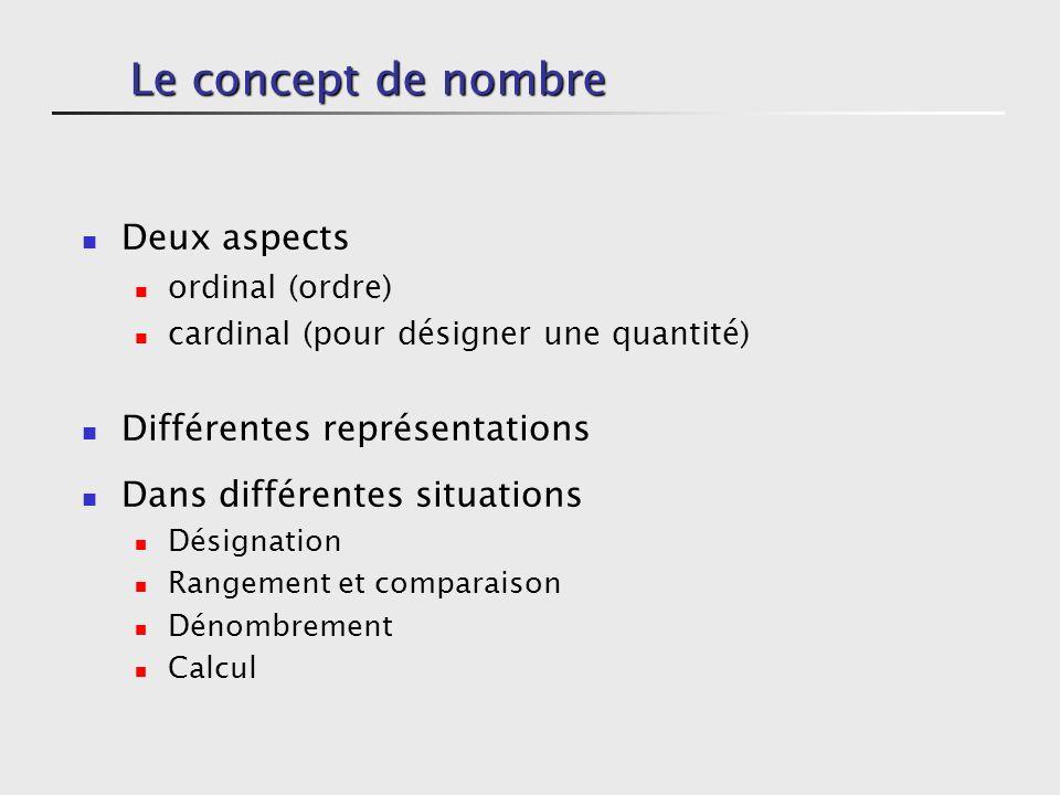 Le concept de nombre Deux aspects Différentes représentations