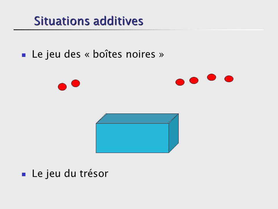 Situations additives Le jeu des « boîtes noires » Le jeu du trésor