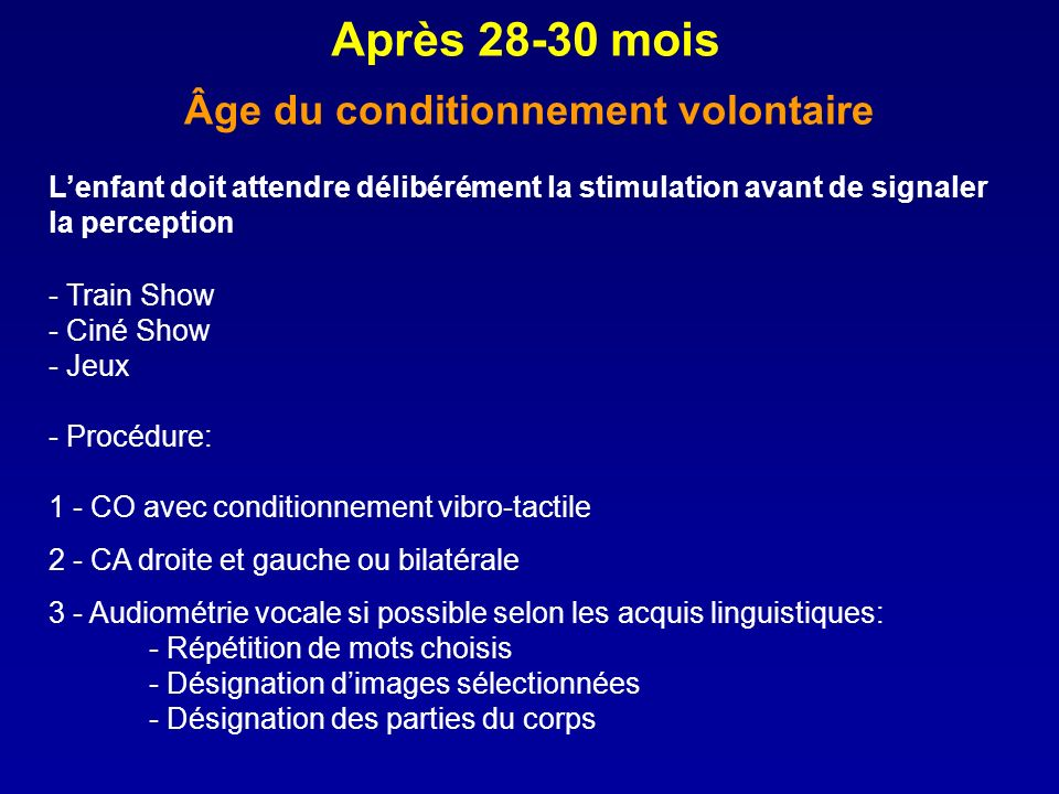 Âge du conditionnement volontaire