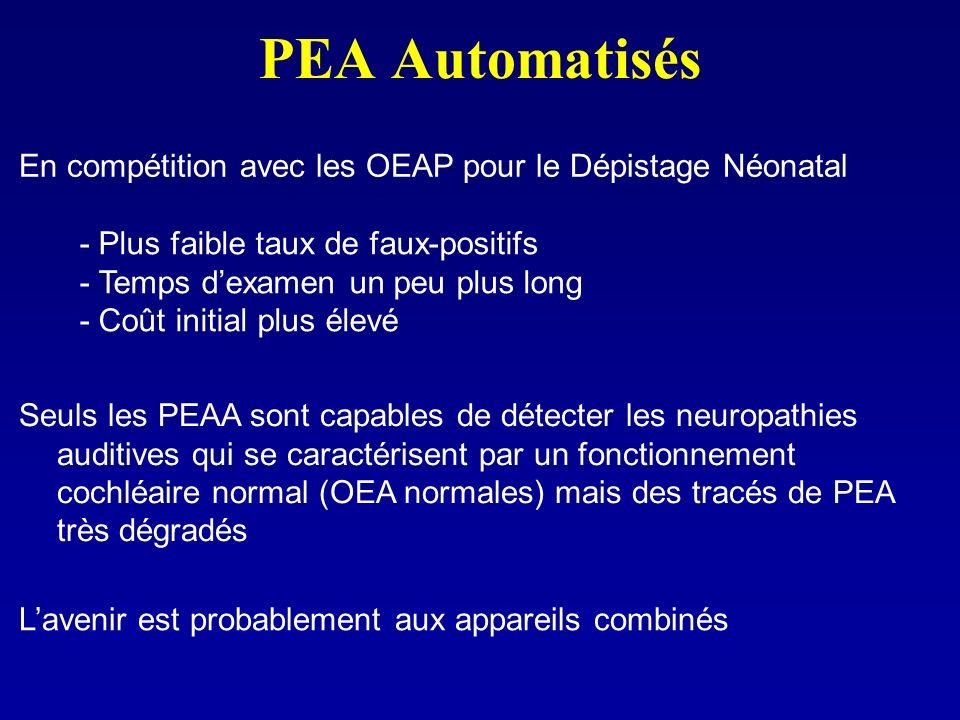 PEA Automatisés En compétition avec les OEAP pour le Dépistage Néonatal. - Plus faible taux de faux-positifs.