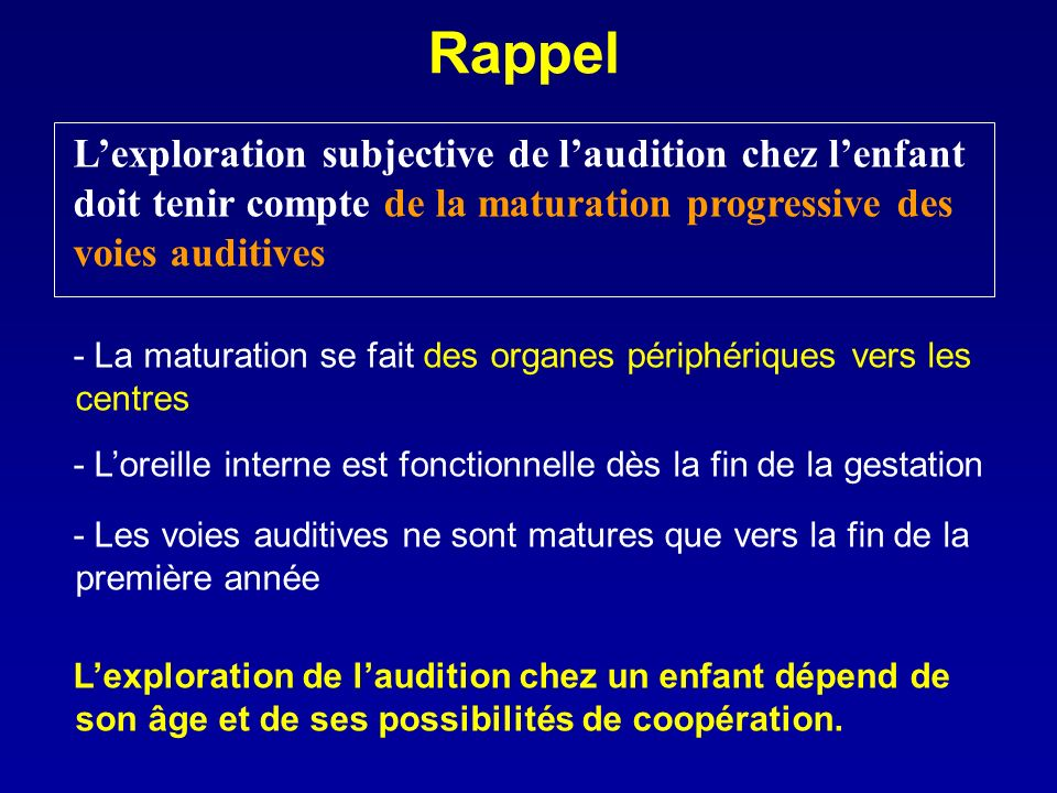 Rappel L'exploration subjective de l'audition chez l'enfant doit tenir compte de la maturation progressive des voies auditives.