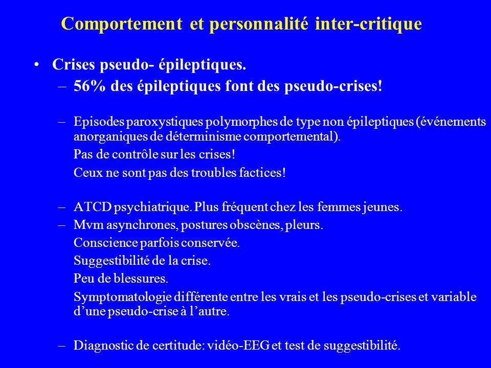 Comportement et personnalité inter-critique