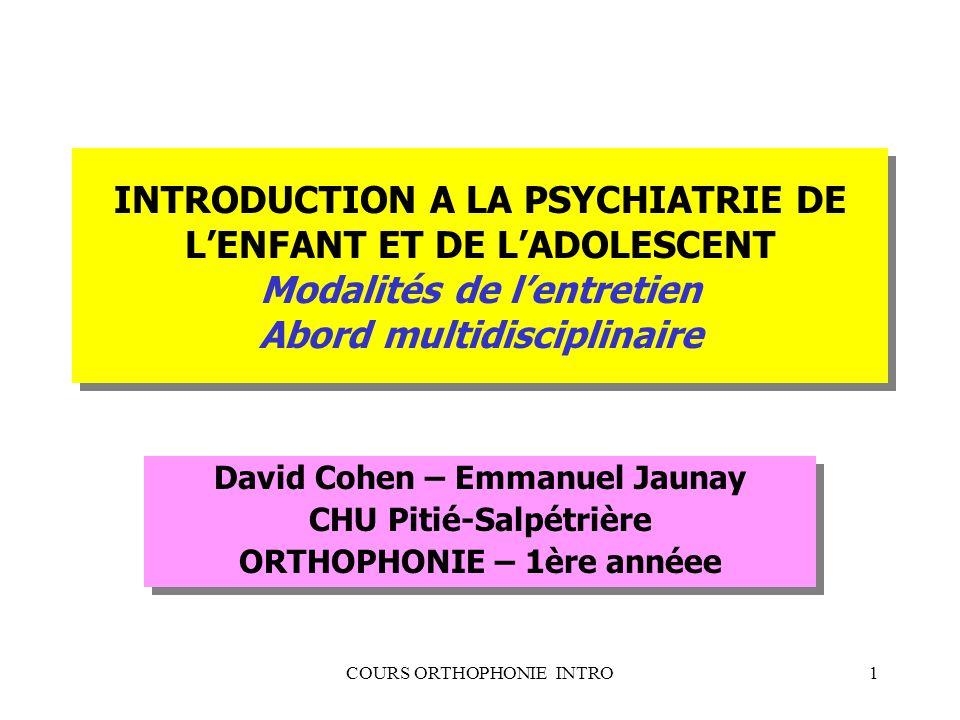INTRODUCTION A LA PSYCHIATRIE DE L'ENFANT ET DE L'ADOLESCENT Modalités de l'entretien Abord multidisciplinaire