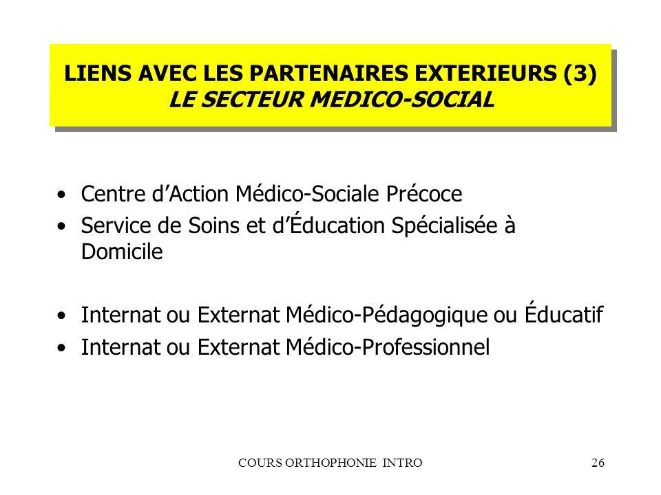 LIENS AVEC LES PARTENAIRES EXTERIEURS (3) LE SECTEUR MEDICO-SOCIAL