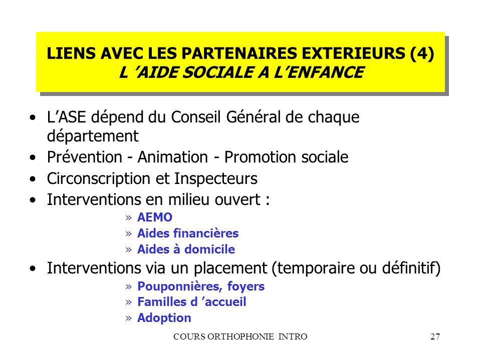 LIENS AVEC LES PARTENAIRES EXTERIEURS (4) L 'AIDE SOCIALE A L'ENFANCE