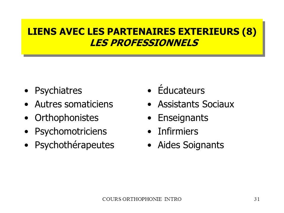 LIENS AVEC LES PARTENAIRES EXTERIEURS (8) LES PROFESSIONNELS