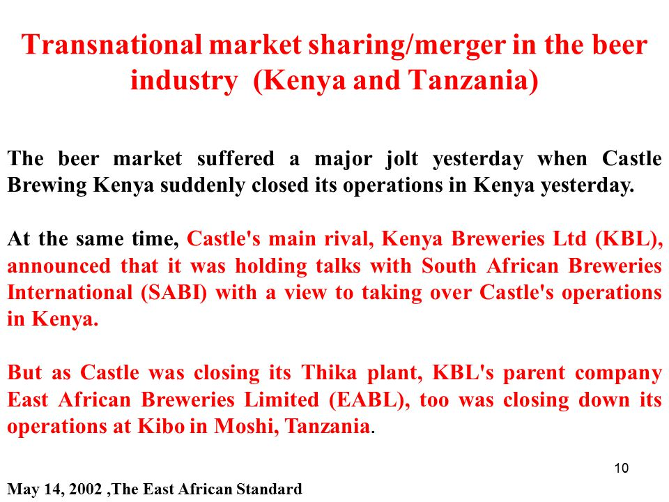 Transnational market sharing/merger in the beer industry (Kenya and Tanzania)