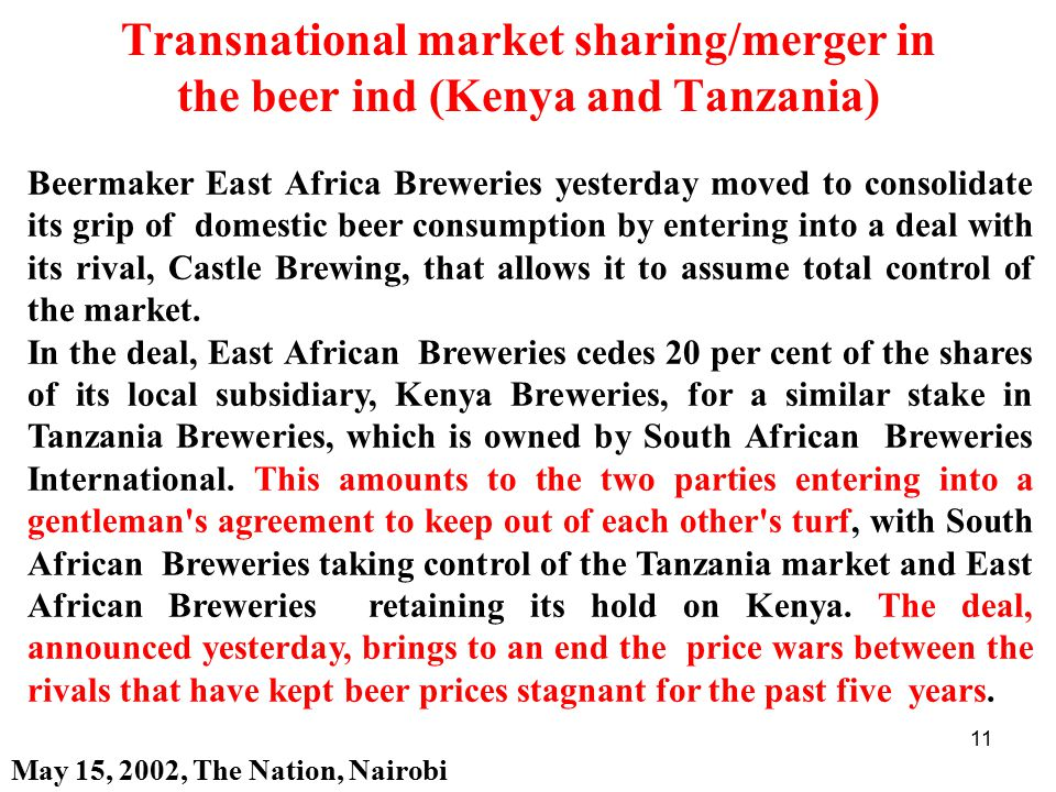 Transnational market sharing/merger in the beer ind (Kenya and Tanzania)