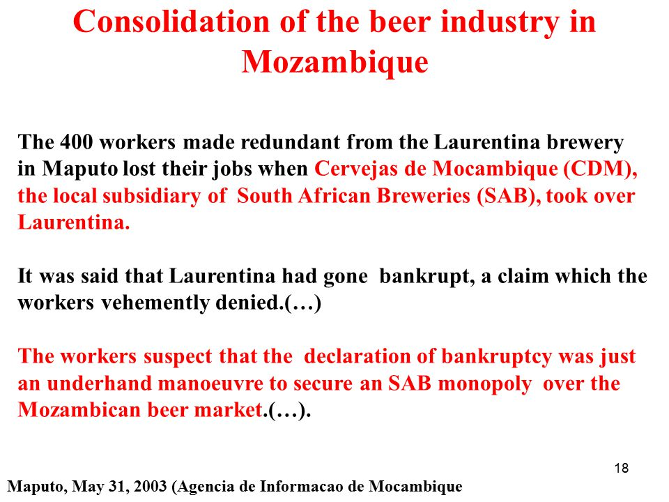 Consolidation of the beer industry in Mozambique