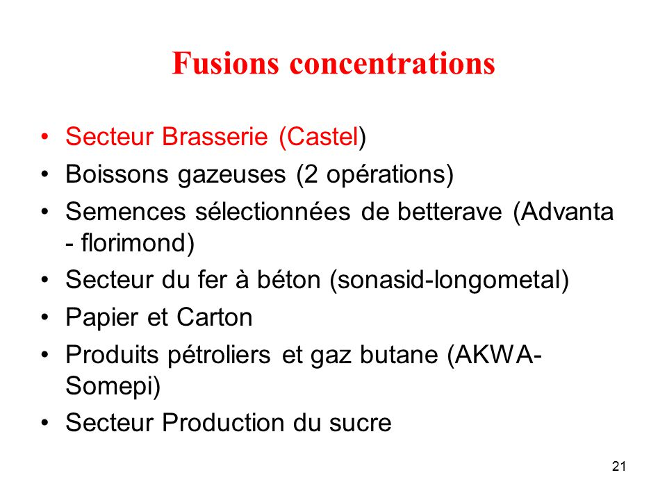 Fusions concentrations