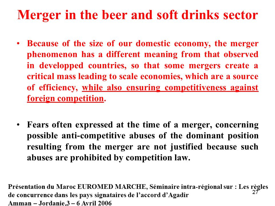 Merger in the beer and soft drinks sector