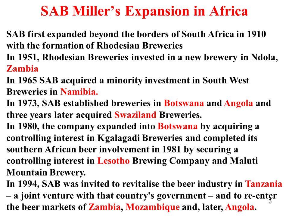 SAB Miller's Expansion in Africa