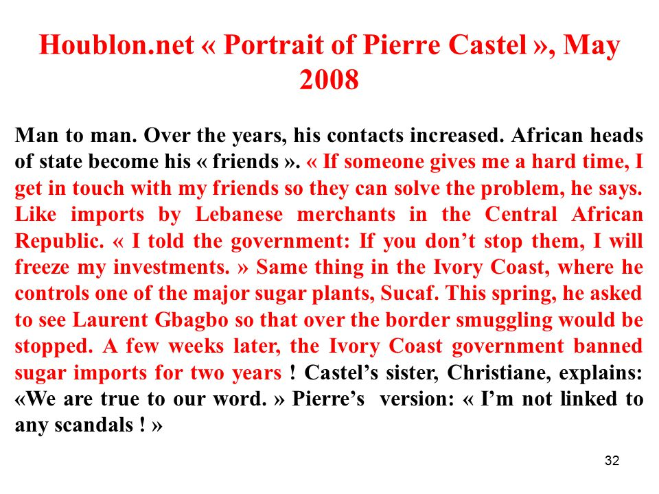 Houblon.net « Portrait of Pierre Castel », May 2008