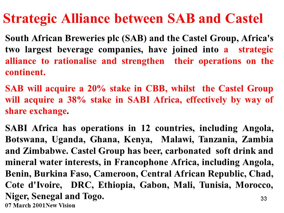 Strategic Alliance between SAB and Castel
