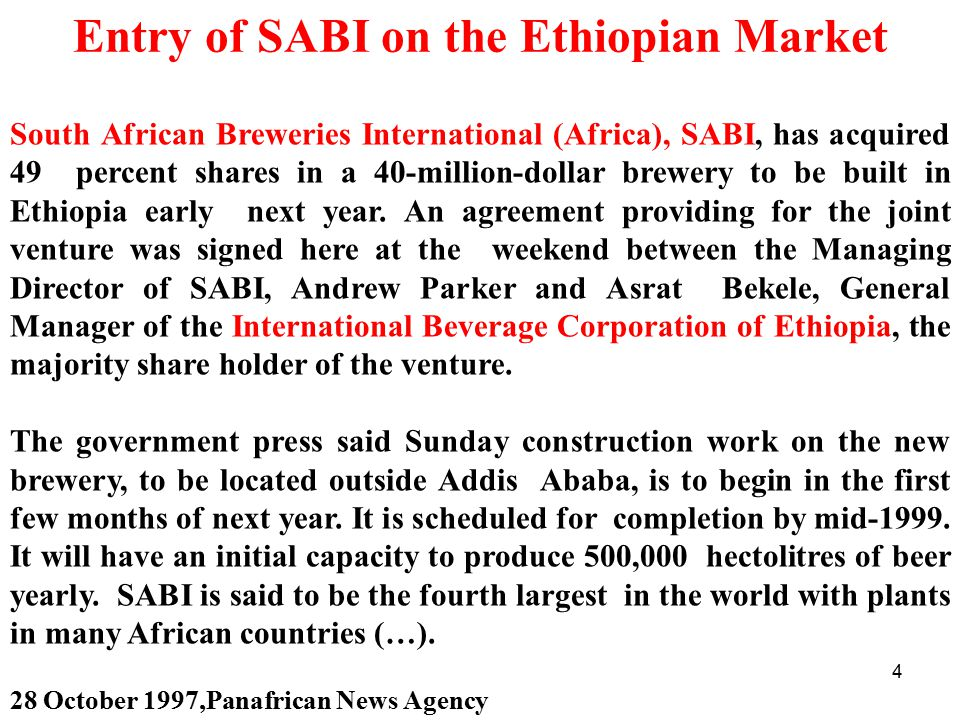 Entry of SABI on the Ethiopian Market
