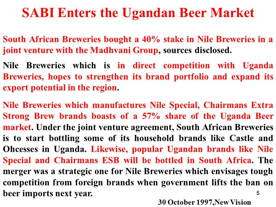 SABI Enters the Ugandan Beer Market