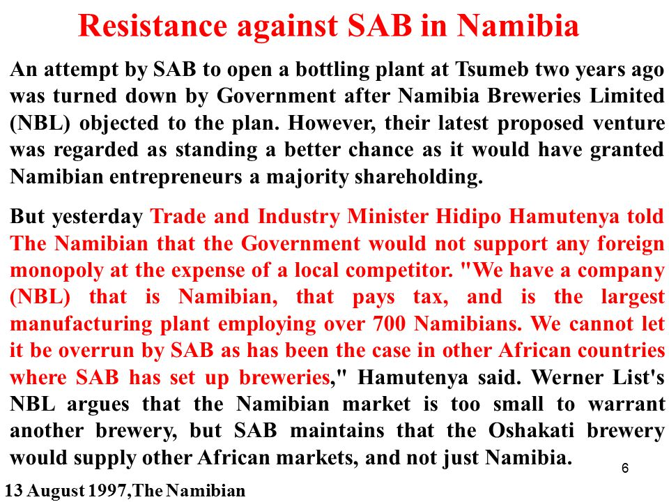 Resistance against SAB in Namibia