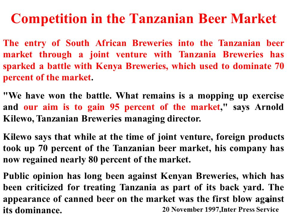 Competition in the Tanzanian Beer Market