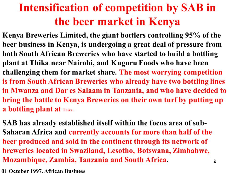 Intensification of competition by SAB in the beer market in Kenya