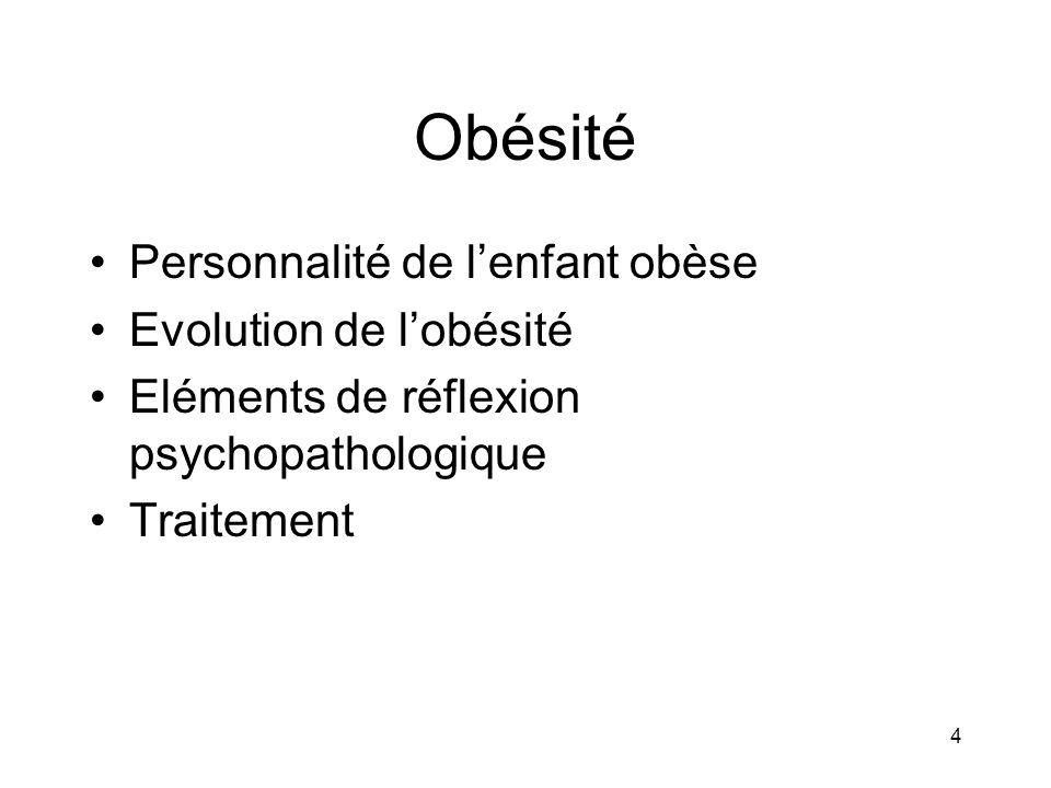 Obésité Personnalité de l'enfant obèse Evolution de l'obésité