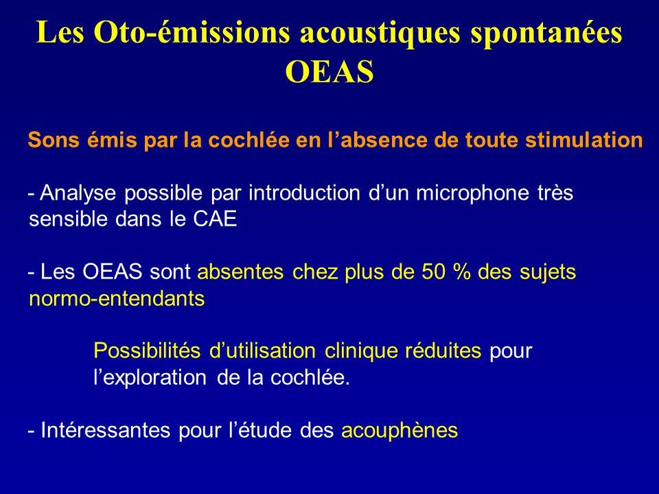 Les Oto-émissions acoustiques spontanées OEAS