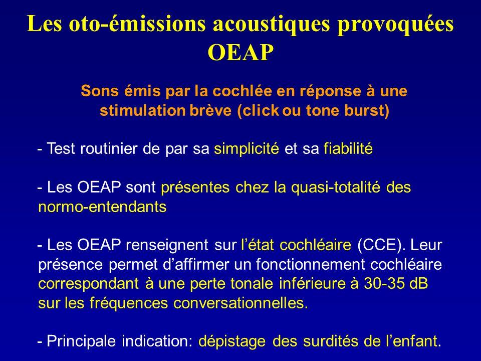 Les oto-émissions acoustiques provoquées OEAP