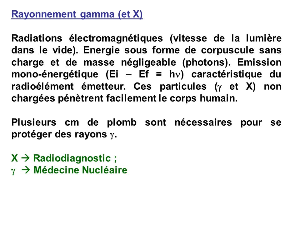 Rayonnement gamma (et X)