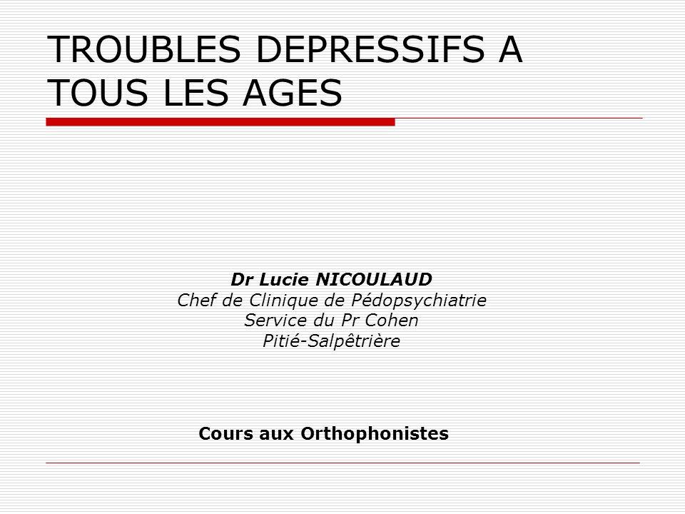 TROUBLES DEPRESSIFS A TOUS LES AGES