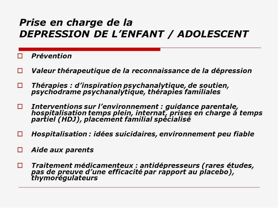 Prise en charge de la DEPRESSION DE L'ENFANT / ADOLESCENT