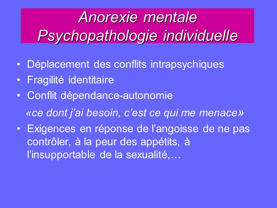 Anorexie mentale Psychopathologie individuelle